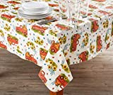 Autumn Radiance Harvest Red Truck, Pumpkins & Sunflowers PEVA Tablecloth (52'' x 70'')