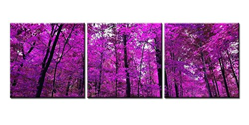 t Painting For Home Decor Purple Japanese Maple Forest Scenery Landscape 3 Pieces Panel Modern Giclee Stretched And Framed Artwork The Picture For Living Room Tree Pictures Photo ()