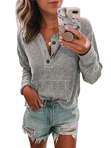 (Womens Long Sleeve Waffle Knit Henley Tops Button Down Pullover Blouse Pocket)