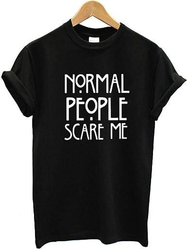 Grea Granate Camiseta Algodón Gente Normal Me Asusta Impreso ...