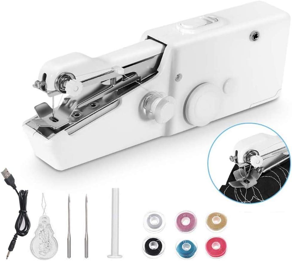 Mini Portátil Máquina de Coser de Mano Eléctrica Inalámbrica para Niños Principiantes Costura Doméstica o de Viaje, Reparaciones Fáciles y Rápidas para Todo Tipo de Telas (Verde, USB Cable)