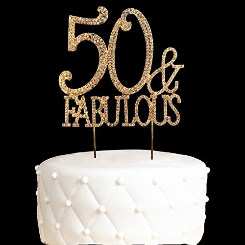 50&Fabulous Cake Topper 50 Years Birthday Or 50TH Wedding Anniversary Gold Crystal Rhinestone Party Decoration (Gold) (Gold) 50th Anniversary Themes