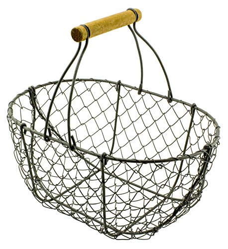 """Garden Harvest Metal Wire Basket with Handle -9""""H x 9""""W x 6""""Deep from Red Co."""