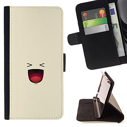 Momo Phone Case / Wallet Leather Case Cover With Card Slots – Smiley Lol Hysterical Funny Texting – Motorola Moto E ( 1st Generation )