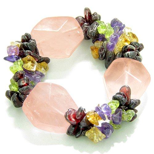 Amulet Healing Large Faceted Rose Quartz Crystal with Gemstone Chips Bracelet