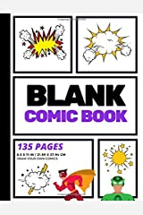 Blank Comic Book: Create Your Own Comic Strip, Blank Comic Panels, 135 Pages, Purple (Large, 8.5 x 11 in.) (Action Comics) (Volume 7) Paperback
