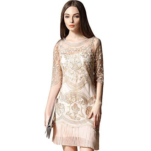 dezzal Tüll Floral Cocktail Ball Party transparenten Aprikose Spitze bestickter Kleid Damen qttWw5rZ