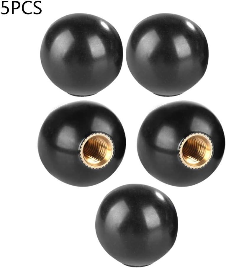 schwarzer Rundgriff-Schaltknauf mit M6-Gewinde-Kupfereinsatz 5 St/ück Bakelit-Kugelknauf