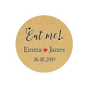 Rd 005 eKunSTreet 48x Personalised Eat Me!Kraft Sticker,40MM Round Party Favour Labels,Custom Wedding Favour Cake//Food Party Stickers,Party Bag Candy Bar Stickers Seals