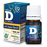 Vitamin D Drops for Infants - Baby Vitamin D Drops 400 IU - Non GMO D3 Supplement for Babies, Toddlers, Kids and Children with Organic Olive Oil by Nurture Co - 90 Drops