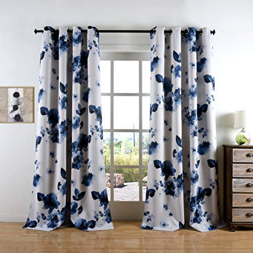 Taisier Home 52×63 Inch Decorative Drapes with Bule Leaves&Flower Watercolor Painting 2 Panels Window Blackout Curtain Panels for Living Room Bedroom Printed