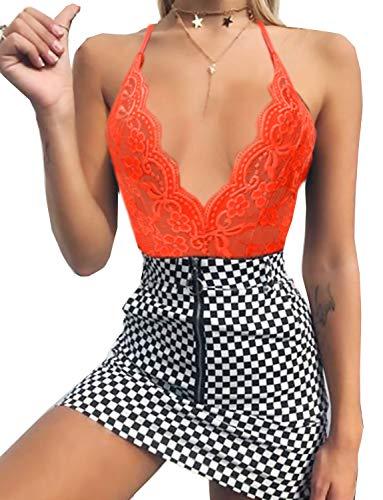 Women Lace Eyelash Teddy Bodysuit for Women Lingerie One Piece Flower Negligee Babydoll Nightwear (Large, 01-Orange)