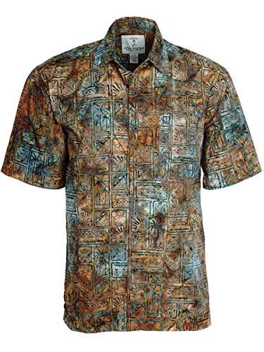 Artisan Outfitters Mens Outer Banks Batik Cotton Hawaiian Shirt (5XB, Caramel Horizon) A0214-47-5XB