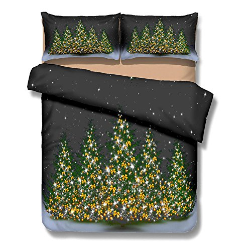 Kids Bedding Sets 4 Piecees 3D Printed Cartoon Merry Christmas Christmas Tree Bedding Sets Reversible Comforter Set 1 Flat Sheet 1 Duvet Cover and 2 Pillow Cases (King Size) for cheap