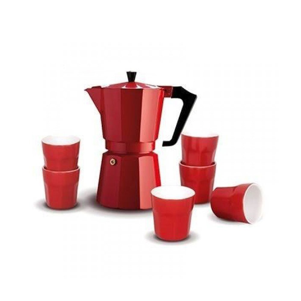 Pezzetti Red Percolator Coffee Pot With 6 Espresso Cups Stove Top Coffee Maker Set