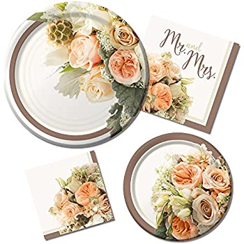 Rustic Wedding Bridal Shower Paper Plates and Napkins, 16