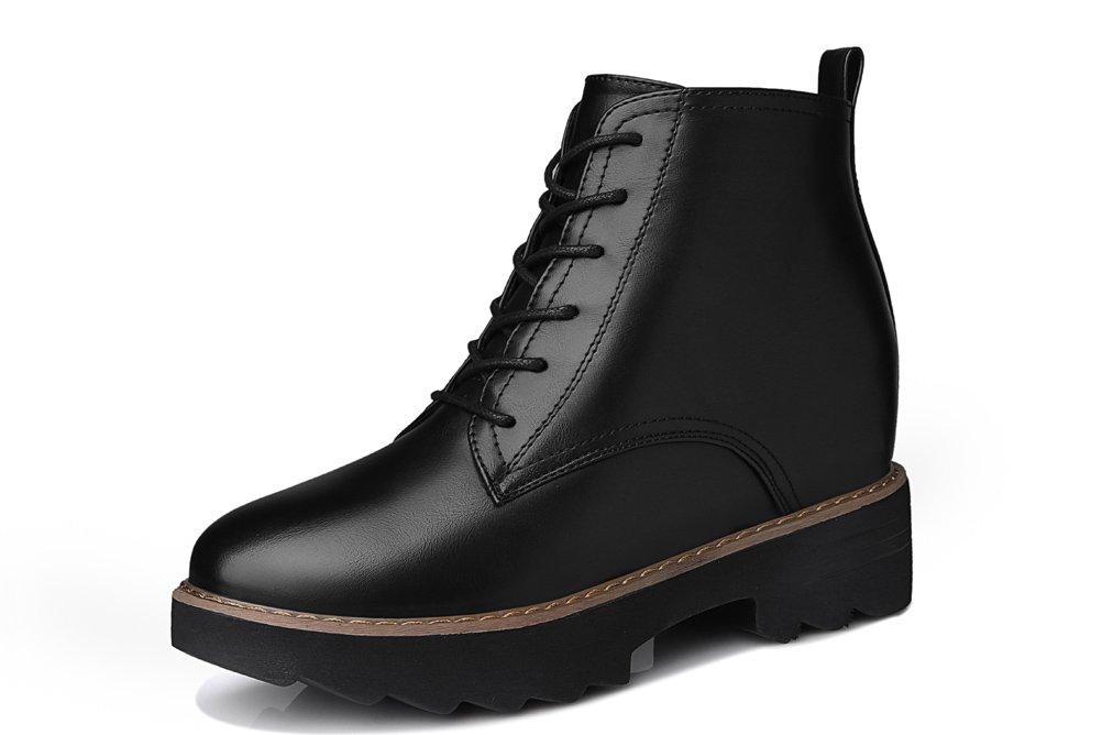 Youxuan Women's Winter Walking Short Booties Slip Resistant Girls Platform Flats Snow Boots Black 5.5M US