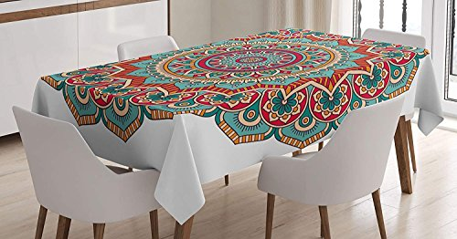 Seven Sunshine Mandala Tablecloth Decorative Cotton Linen Table Cover Cloths for Kitchen Dining Outdoor Indoor Party, Traditional Indian Circle Meditation Folk Spiritual Culture Print by Seven Sunshine