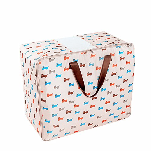 Clothes Storage Bags,Quaanti Large Vintage Floral Laundry Shopping Storage Tote Bag Reusable Printed Bags with Zipped (A)