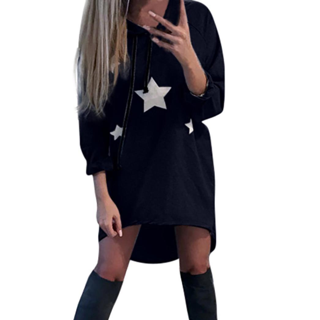Sweatshirt Damen Sunday Pentagramm Gedruckt Kleid Hoodies Sterne Gedruckt Mini Kleid Freizeit Kapuzepullover