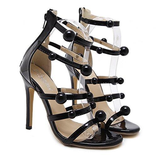 TMKOO Frauen High Heels Sommermode Sandalen Atmungsaktiv Freizeitschuhe Elegante Sexy Party Schuhe Römische Schuhe Strand Schuhe Schwarz (Größe   Us6.5 eu37 uk4.5 cn37)