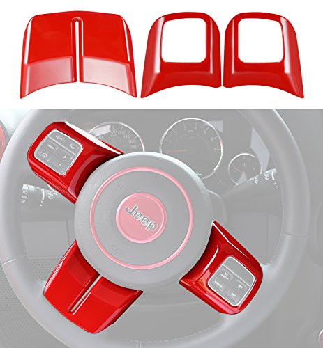 opar Red Steering Wheel Cover Trim for 2011-2018 Jeep JK Wrangler & Unlimited & Compass & Patriot - (Red Wheel Trims)
