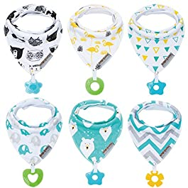 Baby Bandana Drool Bibs 6-Pack and Teething Toys 6-Pack Made with 100% Organic Cotton, Super Absorbent and Soft Unisex (Vuminbox) (6-Pack Unisex)