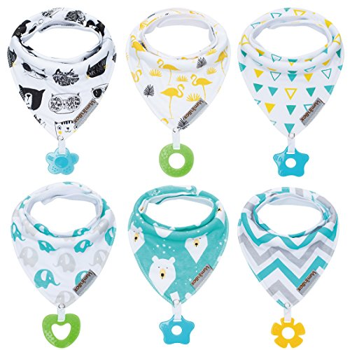 Baby Bandana Drool Bibs and Teething Toys Made with 100% Organic Cotton, Super Absorbent and Soft 6-Pack Unisex (Vuminbox) -