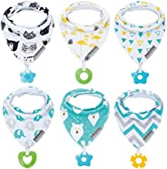 Baby Bandana Drool Bibs 6-Pack and Teething Toys 6-Pack Made with 100% Organic Cotton, Super Absorbent and Soft Unisex (Vumi