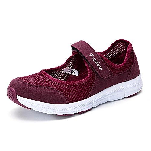 Sneakers Verano Mujer Gris Malla para Verano Sneakers Rojo 42 35 Correr de Zapatos 92f34b