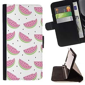 Skull Market - FOR Sony Xperia Z3 Compact - Lovely pink watermelon - Caja de la carpeta del tir¨®n del cuero de la PU [con ranuras para tarjetas y cierre de solapa magn¨¦tica] P¨¢rese cubierta de la caja