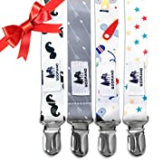 Pacifier Clip by Godrano - 4 Pack - Premium Quality Holder For Babies And Infants - Great Modern Design Gift - Unique Teething Ring Holder For Boys.