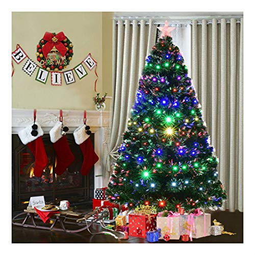 7' Pre-Lit Fiber Optic Artificial Christmas Tree w/Multicolor LED Lights & Stand (Optic Tree Ft Fiber 7)