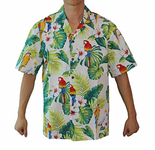Made in Hawaii ! Men's Hibiscus Parrots Hawaiian Luau Cruise Aloha Shirt (XL, (Cotton Mens Aloha Shirt)