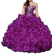 Dydsz Women's Sweetheart Quinceanera Dresses Prom Dress Long Beaded Sequin Ball Gown D15