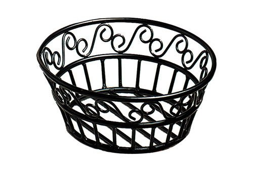 (American Metalcraft BLSB80 Wrought Iron Scroll Design Round Bread Basket, 8-Inch, Black)