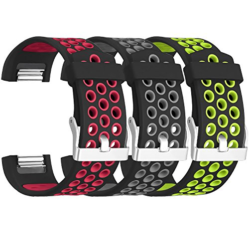 SKYLET for Fitbit Charge 2 Bands, 3 Pack Breathable Silicone Replacement Bands for Fitbit Charge 2 with Secure Watch Clasp (No Tracker)[Large, 3PC: Black-Red&Black-Grey&Black-Green] ()