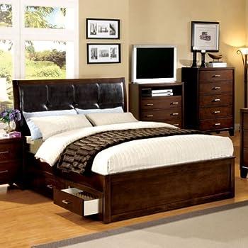 california king size burke brown cherry finish bed frame set - California King Bed Frame With Drawers