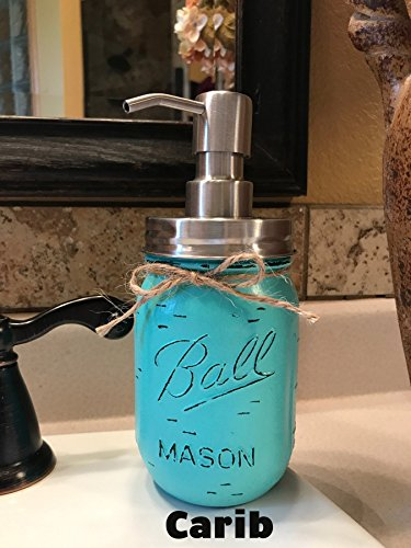 Soap Dispenser Mason Canning JAR Hand PAINTED & Distressed Ball Pint ~ STAINLESS STEEL ~ Kitchen, Bathroom, Lotion or Soap ~Gray Grey Seafoam Light Blue Turquoise Pewter Green Cream Tan Brown (Jug Mirror)