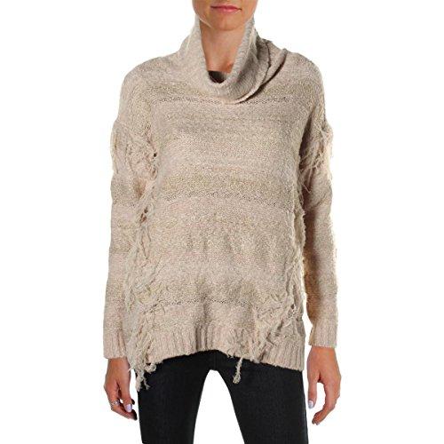 kensie-womens-fringe-marled-turtleneck-sweater-beige-m