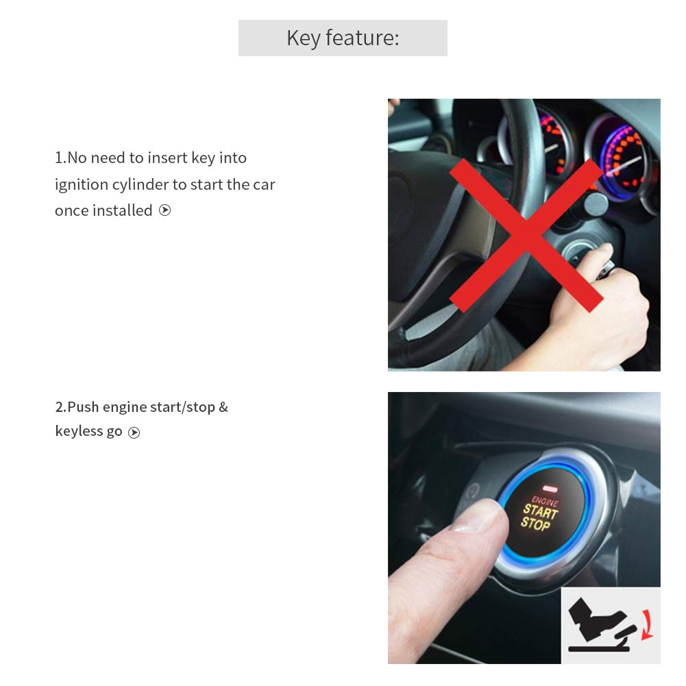 Easyguard Ec004 Smart Rfid Car Alarm System Push Engine Auto Watch Immobiliser Wiring Diagram Start Button Keyless Go Fits For Most Dc12v Cars Cell Phones Accessories