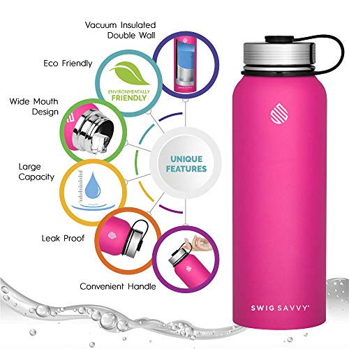 Swig Savvy Water Bottle Stainless Steel Vacuum Insulated Double Wall Pink 18oz