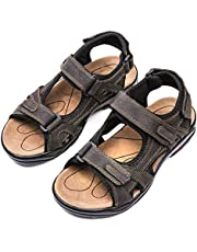 1af7cbff gracosy Mens Summer Sandals Leather Outdoor Sports Hiking Trekking Sandals  Lightweight Athletic Fisherman Beach Shoes Open
