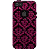 CUSTOM Black OtterBox Commuter Series Case for Apple iPhone 5 / 5S / SE - Black Hot Pink Damask Pattern