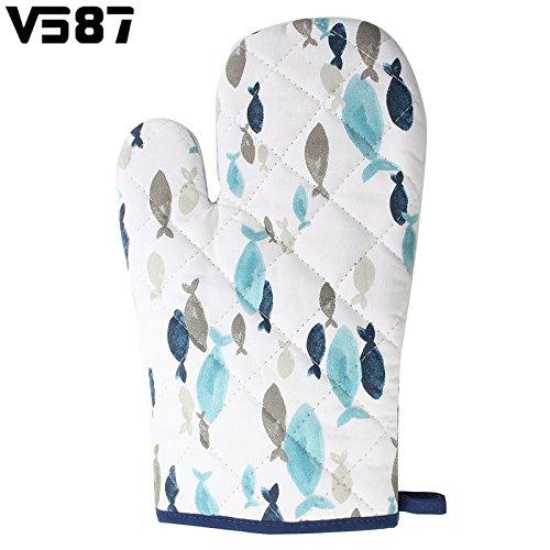 Oven Mitt Heat Insulation Microwave Gloves Cute Blue Fish Cotton Gloves Pad Kitc