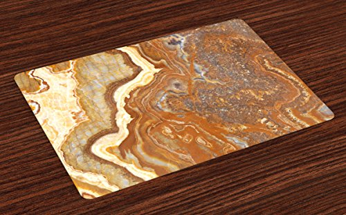 Ambesonne Marble Place Mats Set of 4, Unique Earthen Toned Mother Earth Natural Travertine Structures Display, Washable Fabric Placemats for Dining Room Kitchen Table Decor, Cinnamon Earth Yellow