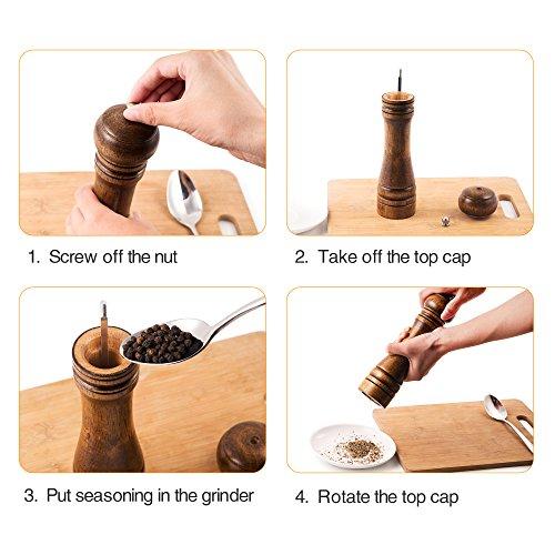Salt and Pepper Grinder – 2 pcs for Salt&Pepper Grinder, Ceramic Mill with Strong Adjustable Solid Wooden Grinder (8 inch) by Keklle by Keklle (Image #4)