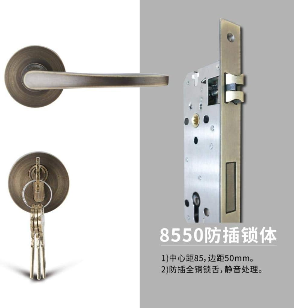 ZTZT Silencioso magnético opcional negro interior moderno baño americano doble cerradura de puerta hembra abierta, (anti-inserción 8550) bronce tipo universal con llave: Amazon.es: Bricolaje y herramientas