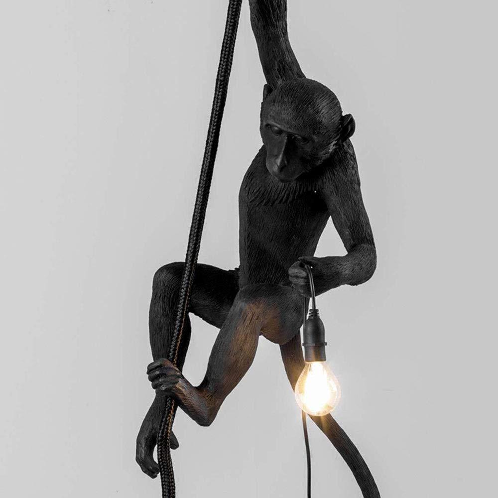 Monkey Lamp Affenlampe h/ängend mit Seilharz schwarzer Kronleuchter 37x 20 X 80 cm Farbe : Wei/ß