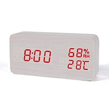 SMAERTHYB Madera Led Reloj Despertador Temperatura Humedad Electrónico Escritorio Reloj Mesa Digital Digital